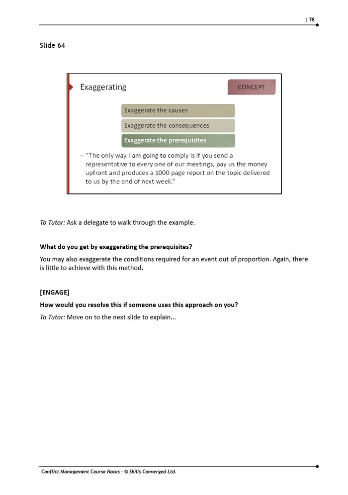 course notes conflict recreation