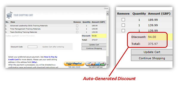 how auto-generated discount works