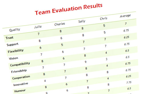 Team Evaluation Self-Test