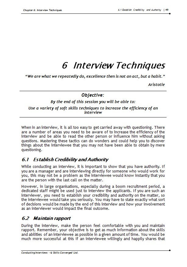 conducting interviews training course materials