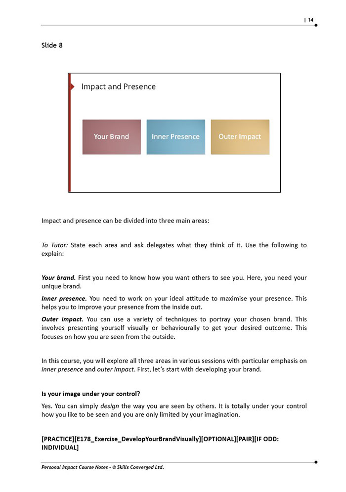 Personal Impact Training Course Materials | Skills Converged